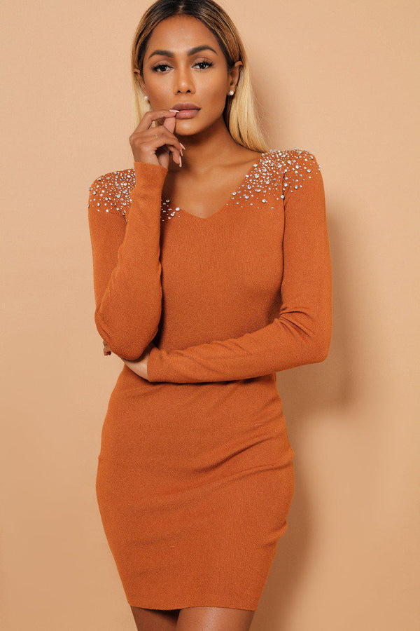 Crystal Studs Embellished Shoulders V Neck Brown Knitted Dress