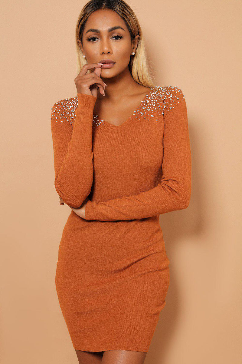Crystal Studs Embellished Shoulders V Neck Brown Knitted Dress - SinglePrice