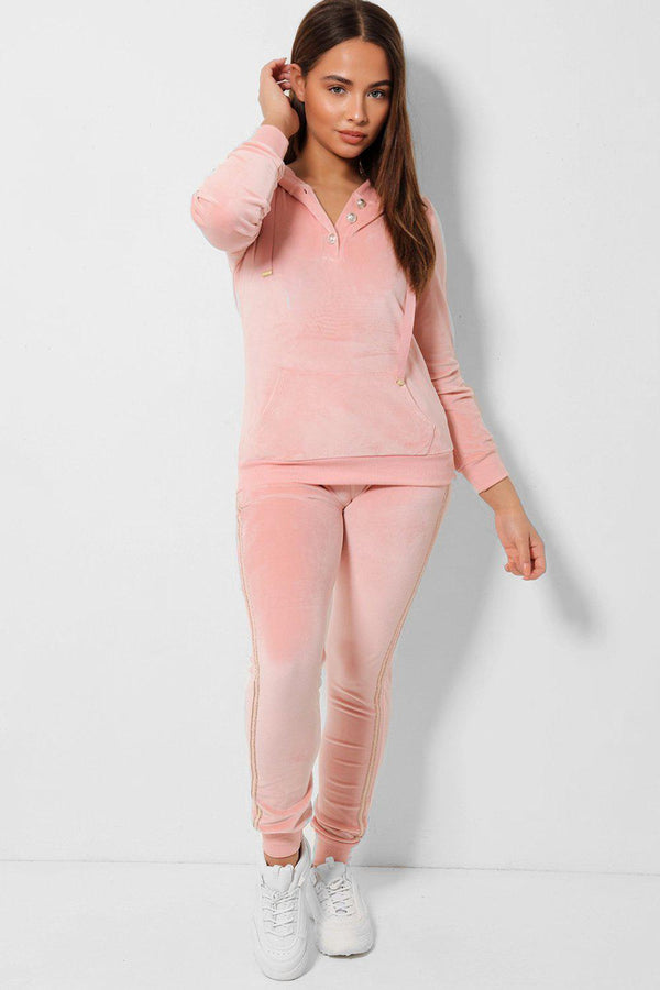 Light Pink Soft Velvet Hooded Two Piece Tracksuit-SinglePrice
