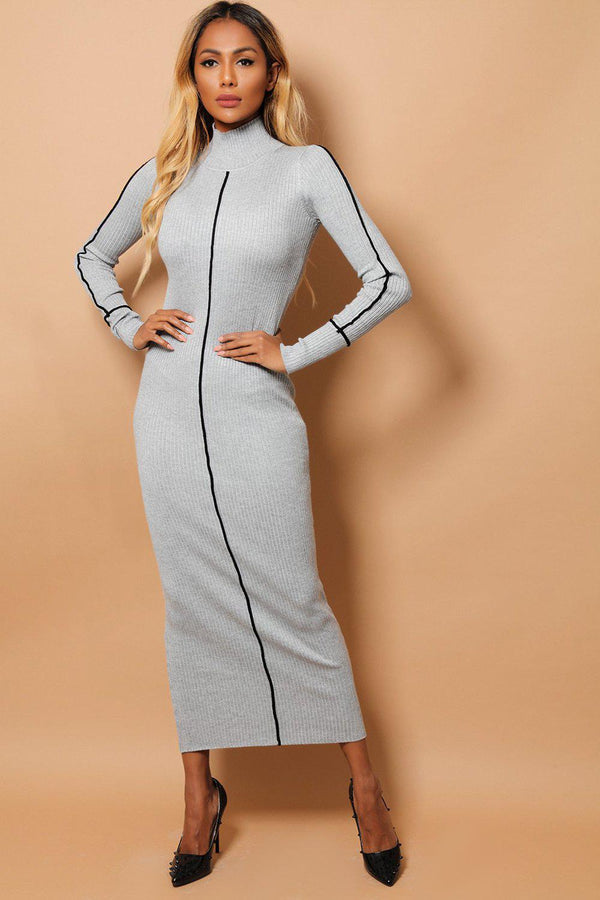 Grey Rib Knit Black Stripe Maxi Bodycon Dress - SinglePrice