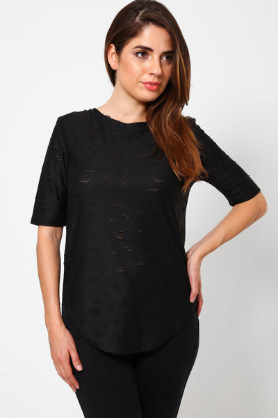 Distressed Pattern Black T-Shirt-SinglePrice