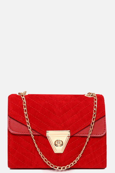 Chevron Quilted Velour Red Handbag-SinglePrice