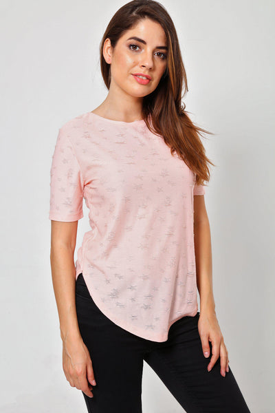 Distressed Pattern Pink T-Shirt-SinglePrice