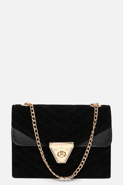 Chevron Quilted Velour Black Handbag-SinglePrice