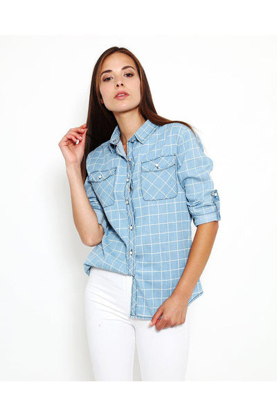 Checked Denim Button Up Shirt-SinglePrice