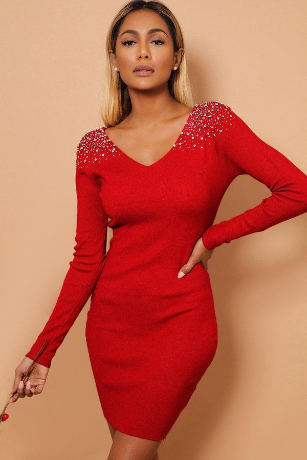 Crystal Studs Embellished Shoulders V Neck Burgundy Knitted Dress