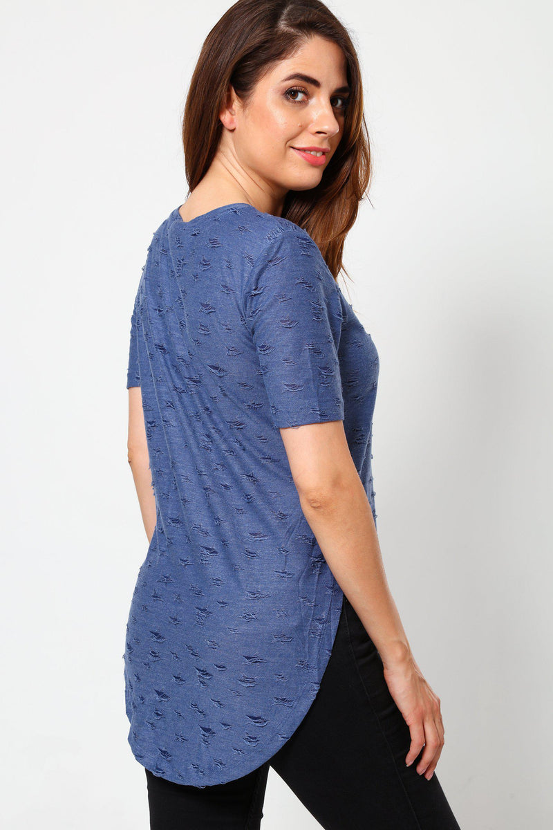 Distressed Pattern Blue T-Shirt-SinglePrice