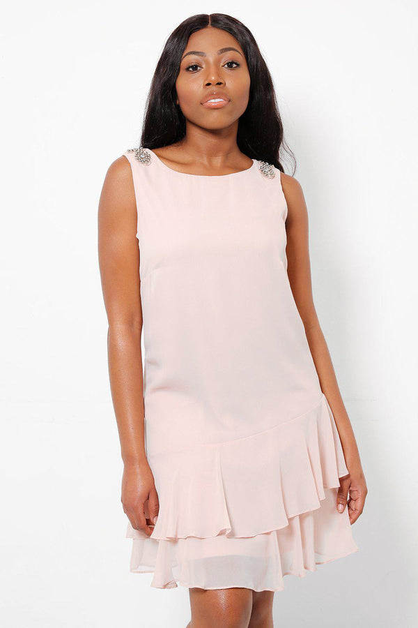 Silver Beads Embellished Shoulders Pink Chiffon Dress-SinglePrice