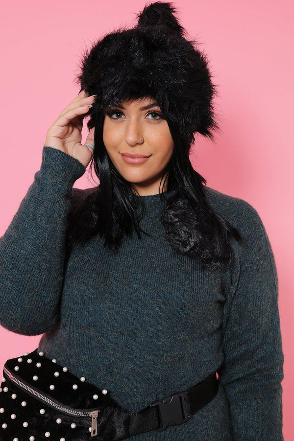 Black Faux Fur Knitted Tassel Hat-SinglePrice