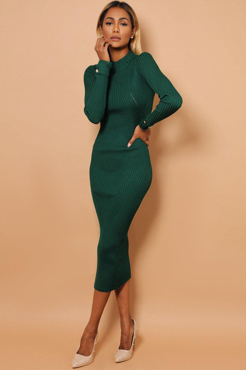 Green Buttoned Rolled-Up Sleeve Rib Knit Midaxi Dress - SinglePrice