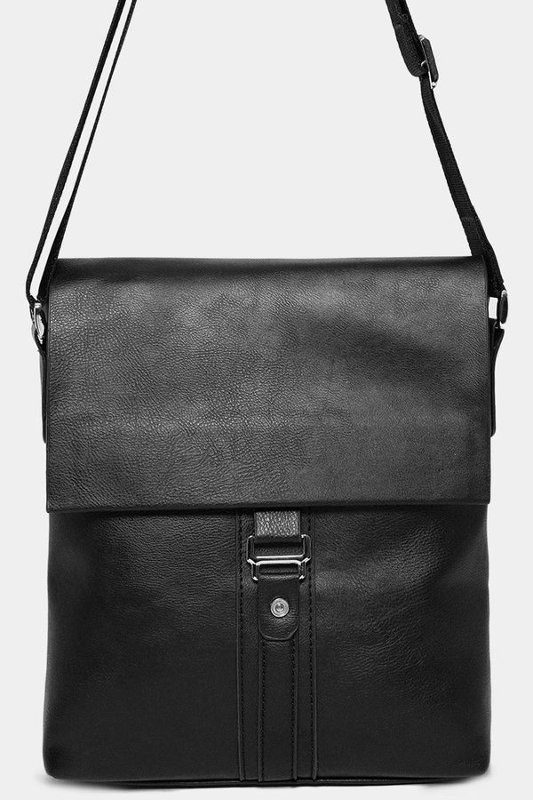 Black Vegan Leather Messenger Bag-SinglePrice