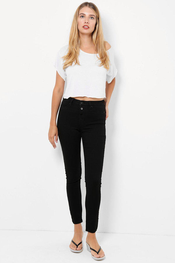 Black Buttoned Front Skinny Jeans-SinglePrice