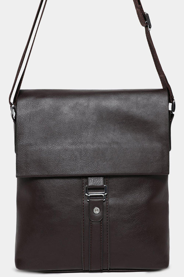Brown Vegan Leather Messenger Bag-SinglePrice