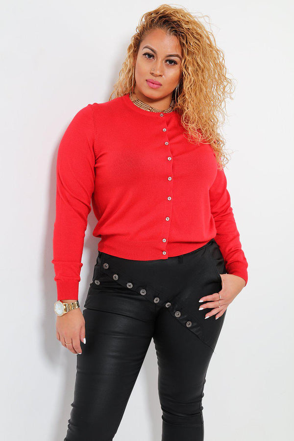 Metallic Buttons Classic Red Cardigan - SinglePrice