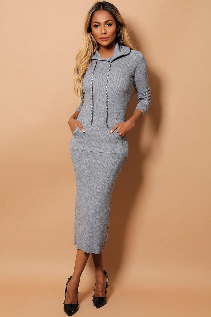 Grey Embellished Drawstrings Hooded Rib Knit Midaxi Dress - SinglePrice