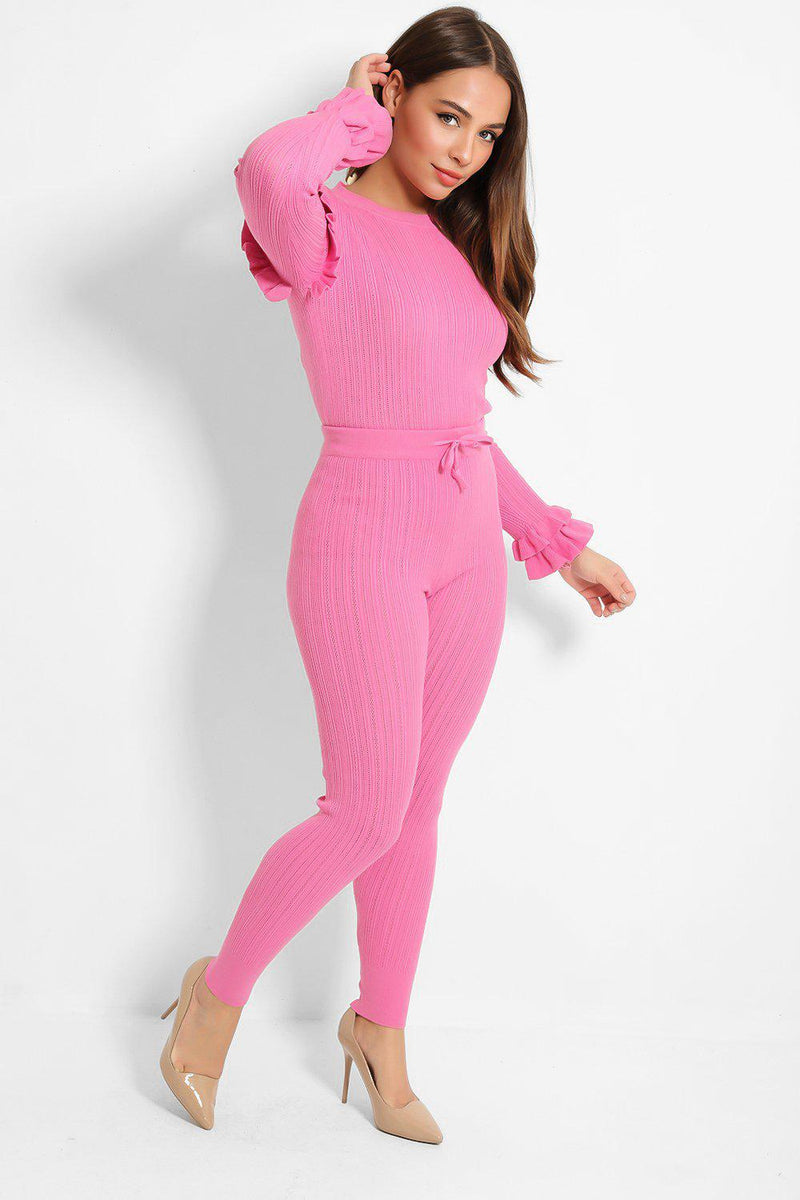 Fuchsia Perforated Knit Lounge Set - SinglePrice
