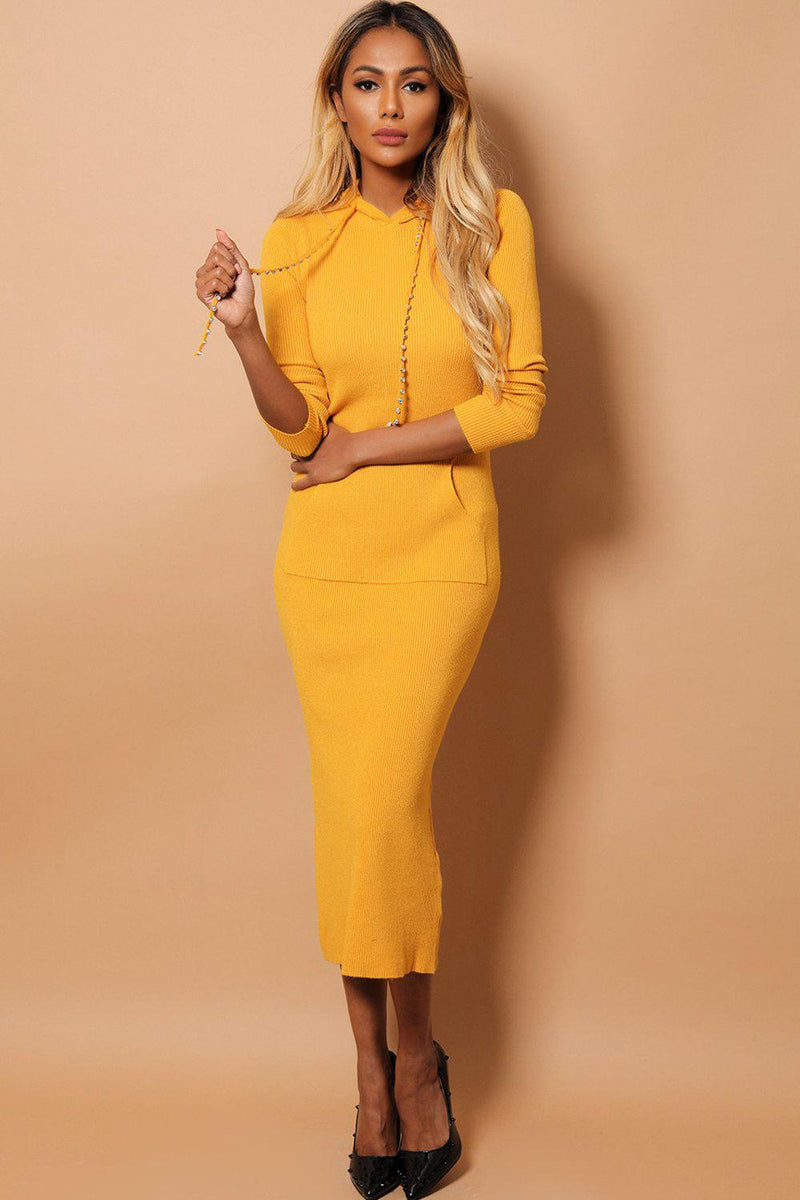 Mustard Embellished Drawstrings Hooded Rib Knit Midaxi Dress - SinglePrice