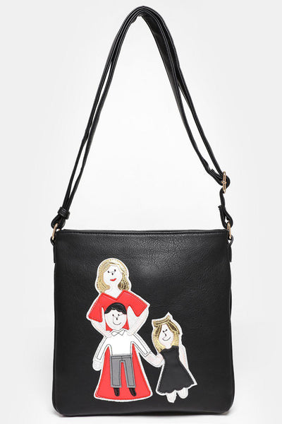 Happy Family Black Cross Body Bag-SinglePrice