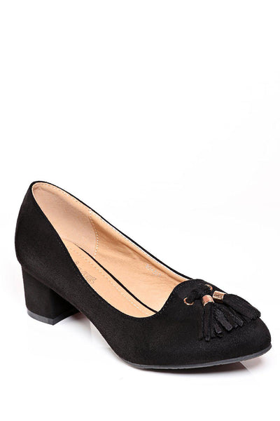 Black Low Heel Tassel Pumps-SinglePrice
