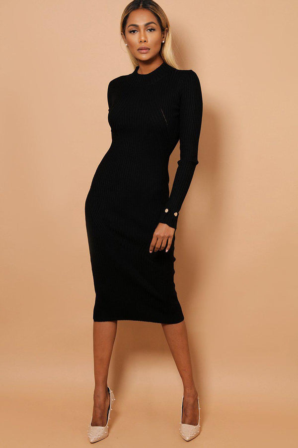 Black Buttoned Rolled-Up Sleeve Rib Knit Midaxi Dress-SinglePrice