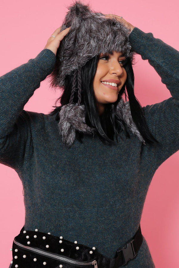 Grey Faux Fur Knitted Tassel Hat - SinglePrice