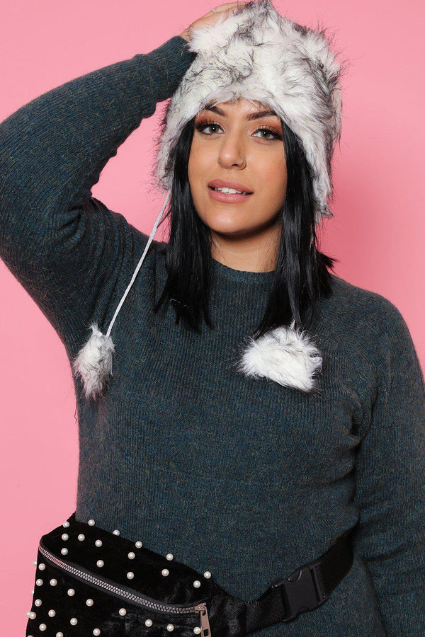 White Faux Fur Winter Hat-SinglePrice