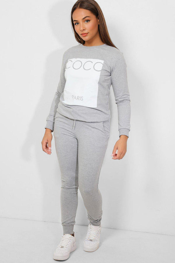 Grey Colourblock Slogan Panel Cotton Blend Tracksuit - SinglePrice