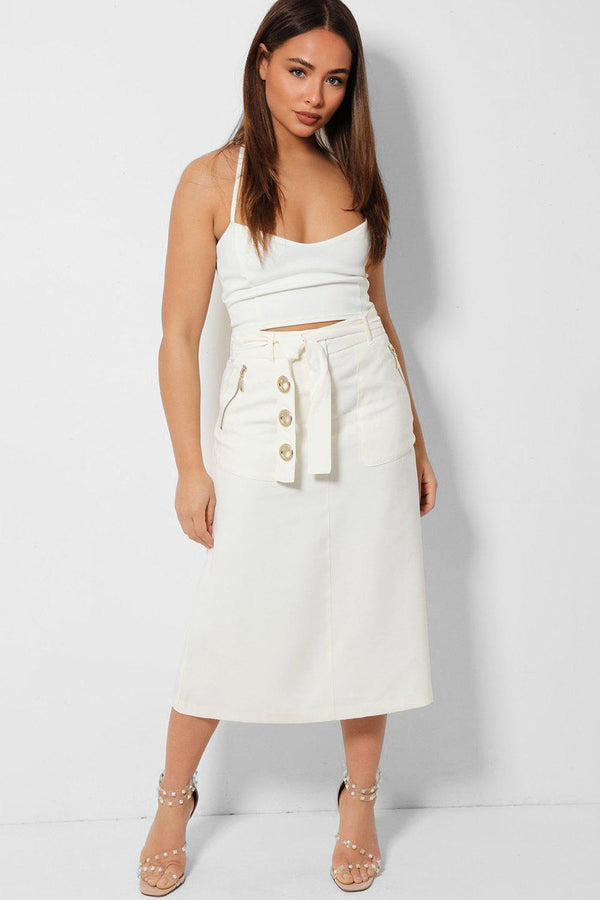 Gold Hardware Cream Self Belt Skirt - SinglePrice
