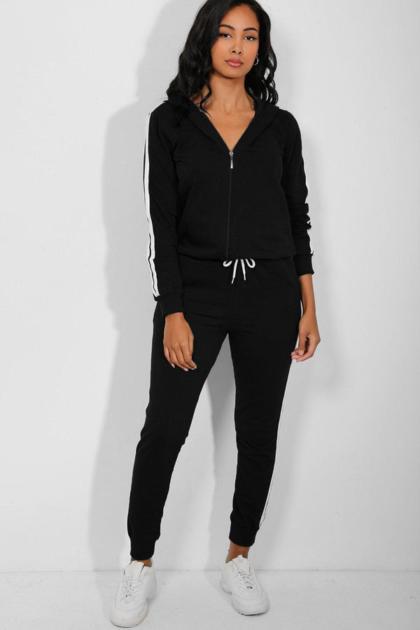Black Classic Side Stripe Detail Hooded Tracksuit - SinglePrice
