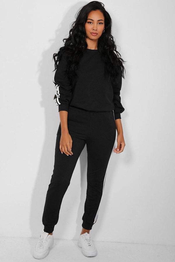 Black Classic Twin Stripe Detail Cotton Blend Tracksuit - SinglePrice