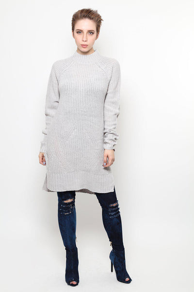 High Neck Side Splits Grey Jumper Dress