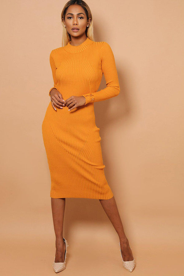 Mustard Buttoned Rolled-Up Sleeve Rib Knit Midaxi Dress-SinglePrice