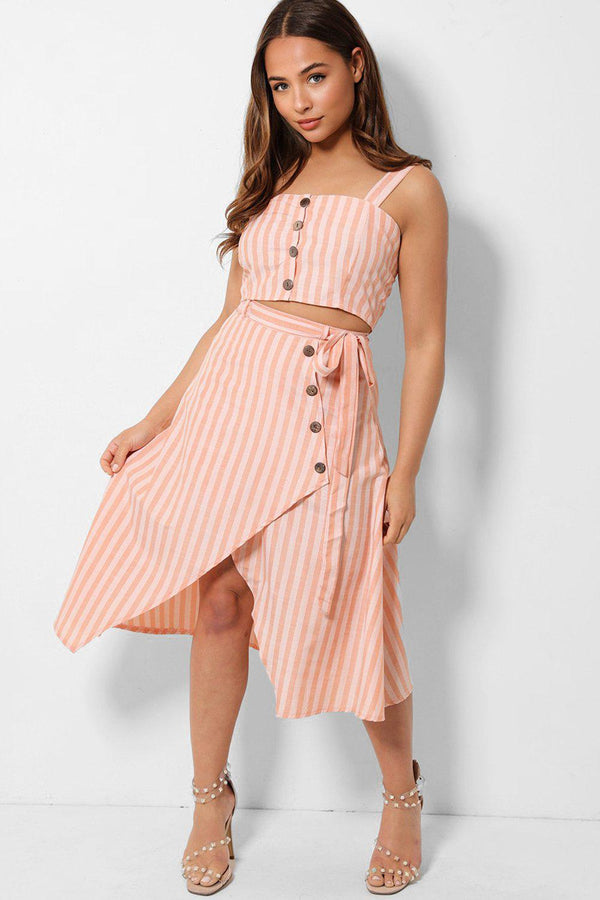 Peach Stripy Crop Top And Wrap Midi Skirt Set - SinglePrice