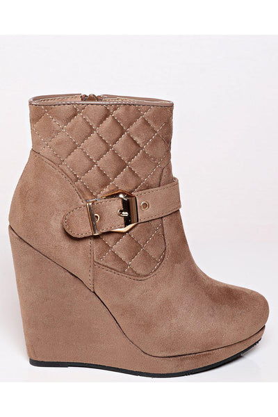Khaki Quilted Suede Wedge Boots-SinglePrice