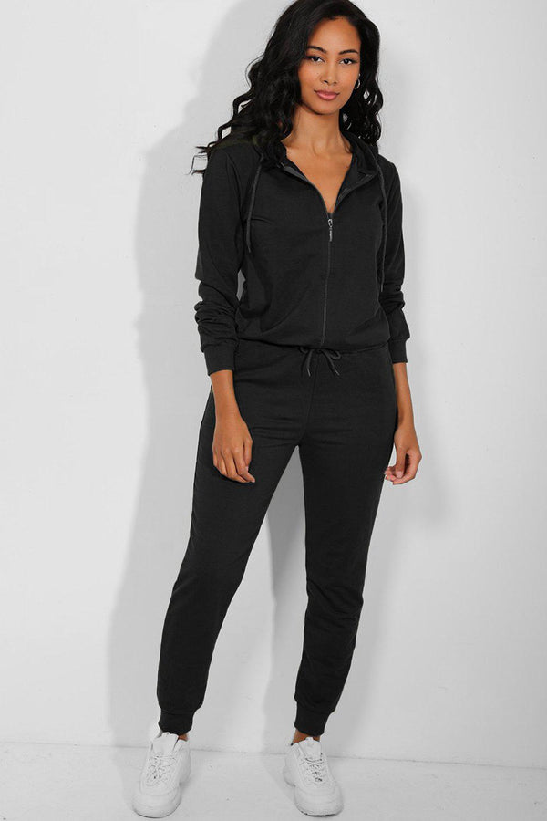 All Black Full Zip Hooded Cotton Blend Tracksuit - SinglePrice