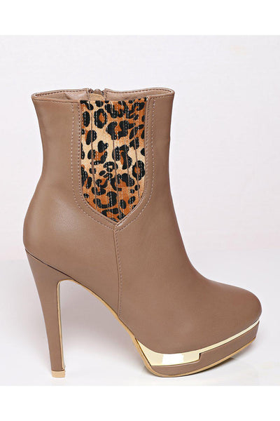 Leopard Print Beige Tall Ankle Boots-SinglePrice