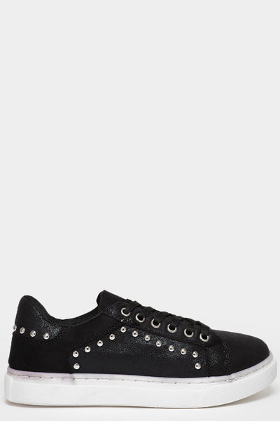 Warn Effect Sole Studded Black Trainers-SinglePrice