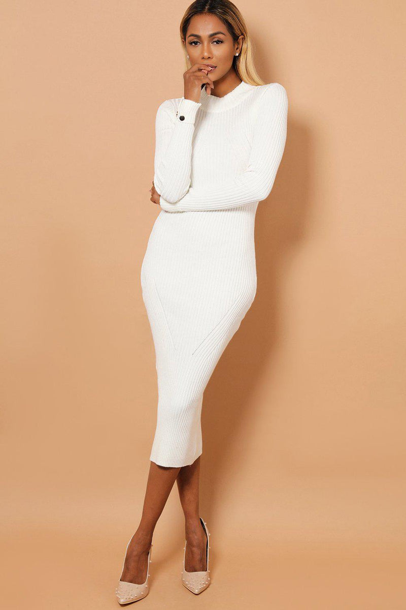 Cream Buttoned Rolled-Up Sleeve Rib Knit Midaxi Dress - SinglePrice