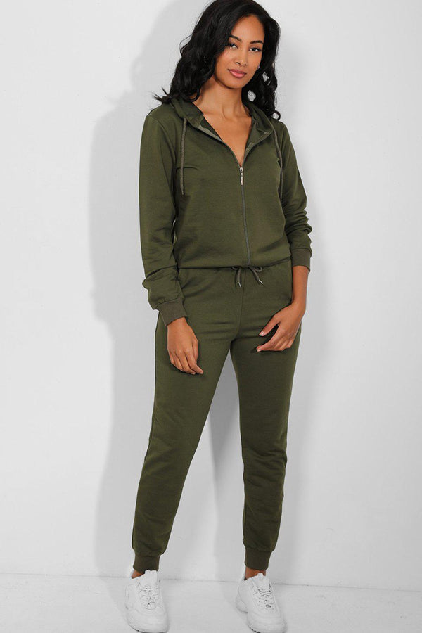 All Khaki Full Zip Hooded Cotton Blend Tracksuit - SinglePrice