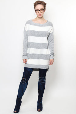 Grey And White Knitted Jumper Dress-SinglePrice