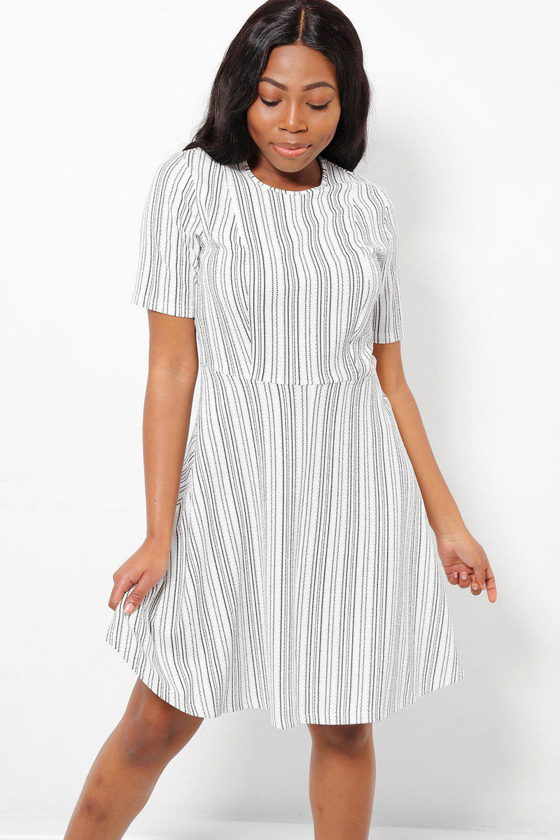 Black Pinstripe White Day Dress-SinglePrice