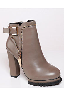 Khaki Tractor Sole Ankle Boots-SinglePrice