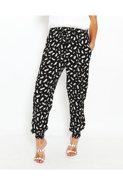 Black Feather Print Navy Elastic Ankle Leisure Trousers-SinglePrice
