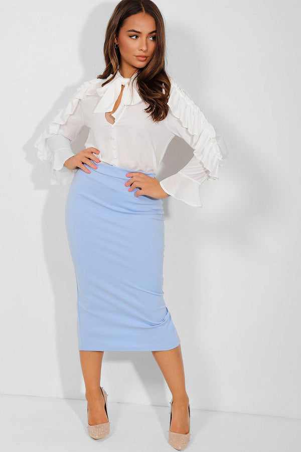 Pastel Blue Stretchy Pencil Midi Skirt - SinglePrice