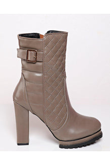 Khaki Quilted Tall Ankle Boots-SinglePrice