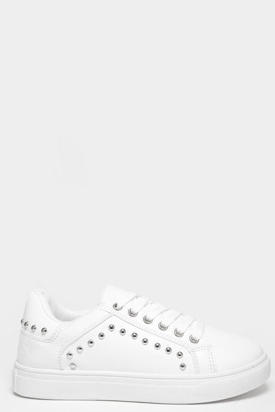 Warn Effect Sole Studded White Trainers-SinglePrice