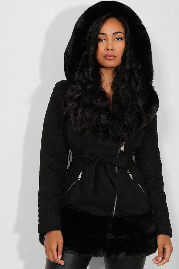 Black Faux Fur Trims Vegan Suede Jacket - SinglePrice
