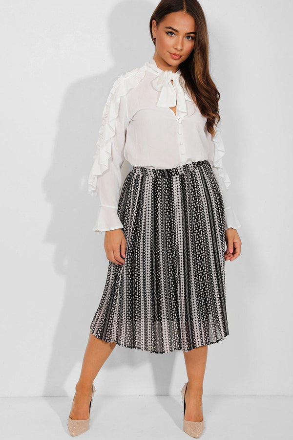 Black White Polka Dot Pleated Chiffon Midi Skirt - SinglePrice