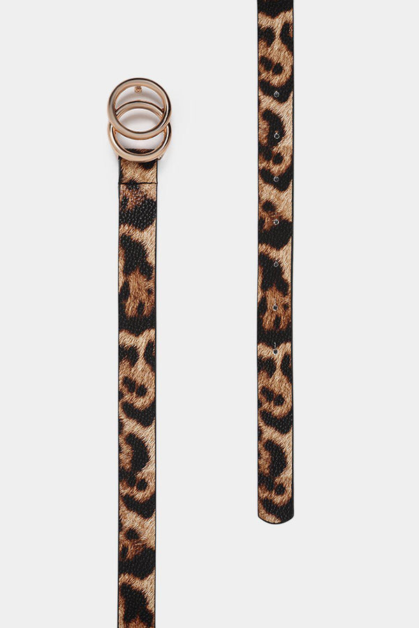 Leopard Print Twin Ring Thin Belt-SinglePrice