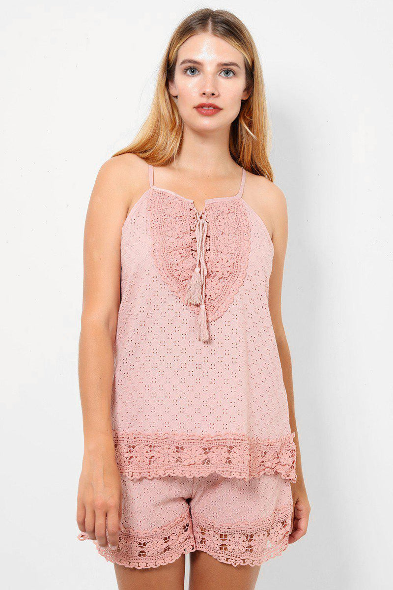 Dusty Pink Crochet Lace Cami Set - SinglePrice